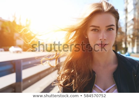 güzel · genç · kadın · gülen · bakıyor · mavi · bluz - stok fotoğraf © pablocalvog