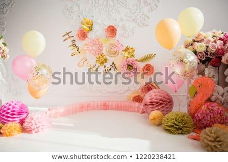 Aniversário tabela decoração placas óculos festa Foto stock © dinozzaver