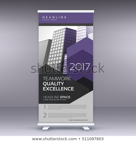 purple arrow style modern roll up banner template stock photo © sarts