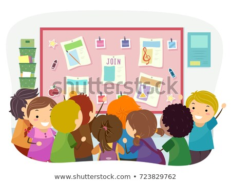 Stickman Kids Bulletin Join Club Illustration Stock photo © lenm