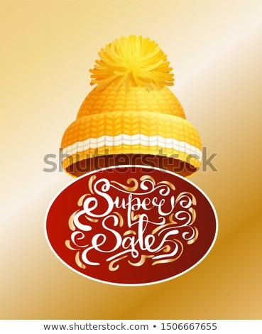 Süper satış etiket örgü sarı şapka Stok fotoğraf © robuart