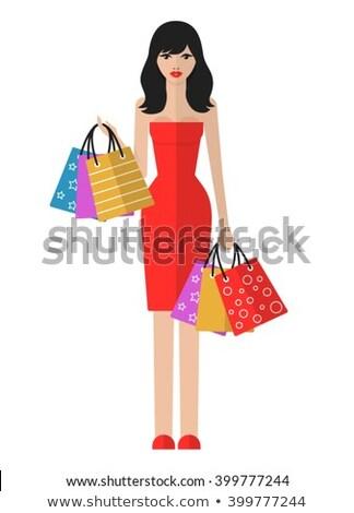Shopping Woman Web Posters Female Shopaholic Woman Stock photo © robuart