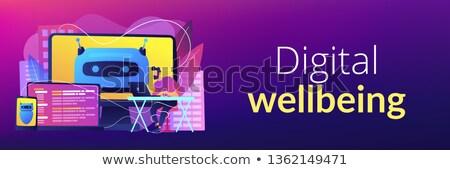 Digitális jólét szalag fejléc felhasználó számítógép Stock fotó © RAStudio