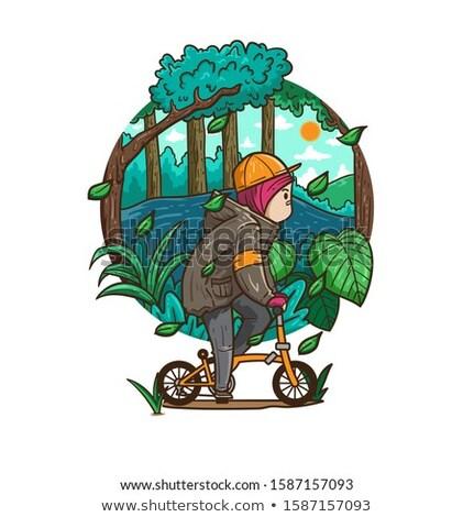 Arab Hijab girl_road bike Stock photo © toyotoyo