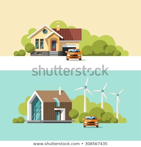 Family suburban cottage house, Flat design illustration. Stock photo © shai_halud