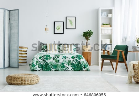 Golden lamp in a room, elegant modern home decor lighting Stock photo © Anneleven