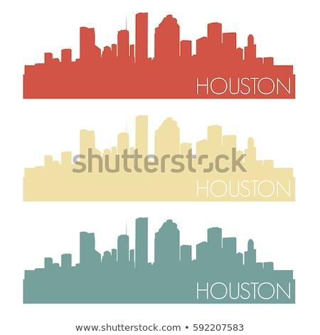 Houston siyah beyaz siluet basit turizm Stok fotoğraf © ShustrikS