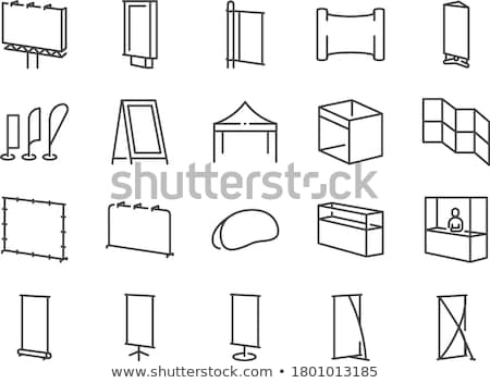 folding billboard icon vector outline illustration Stock photo © pikepicture