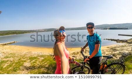 велосипед · пляж · закат · воды · трава - Сток-фото © photography33