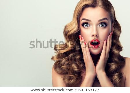 vicces · szőke · nő · megrémült · lány · arc - stock fotó © photography33