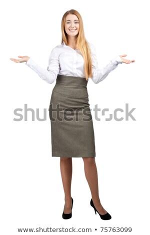 mosolyog · szőke · üzletasszony · bemutat · fehér · üzlet - stock fotó © wavebreak_media