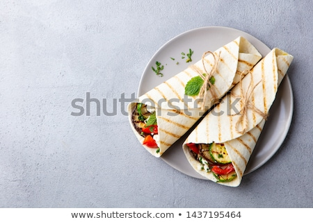 Stockfoto: Tortilla · plantaardige · voedsel · kip · peper