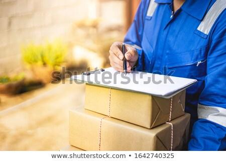 Közelkép fiú visel kártya gyermek háttér Stock fotó © zzve