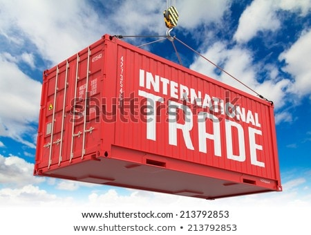 Relocation - Red Hanging Cargo Container. Stock photo © tashatuvango