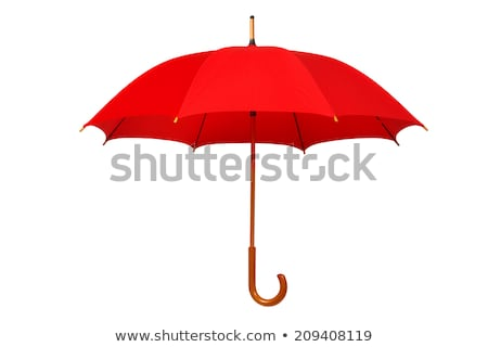 Opened Red Umbrella Isolated On White Stock fotó © ajt