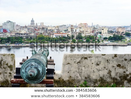 old antique cannon overlooking the blurring city Stock photo © Klinker