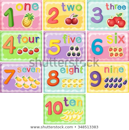 Flashcard number 1 with number and word Stock photo © bluering