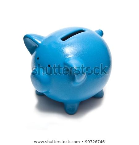 Blauw keramische spaarvarken geïsoleerd witte bank Stockfoto © pakete