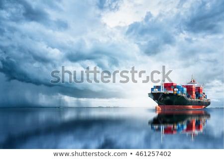 Schip zee zeegezicht vrachtschip kust hemel Stockfoto © All32