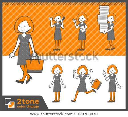 2tone type Bob hair dress woman_set 02 Stock photo © toyotoyo