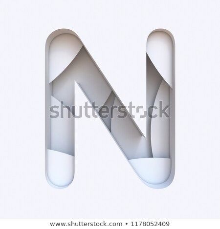 White abstract layers font Letter N 3D Stock photo © djmilic