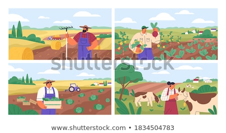 фермер · сцена · иллюстрация · улыбка · трава - Сток-фото © bluering