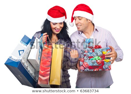 Woman Shopping for Christmas, Bought Presents Stock photo © robuart