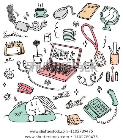Notebooka laptop gryzmolić cartoon wektora sztuki Zdjęcia stock © vector1st