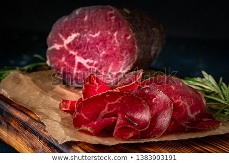 木板 スライス 生 牛肉 食品 背景 ストックフォト © Alex9500