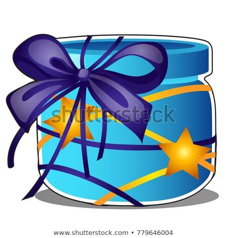 Сток-фото: стекла · синий · банку · украшенный · Purple · лента