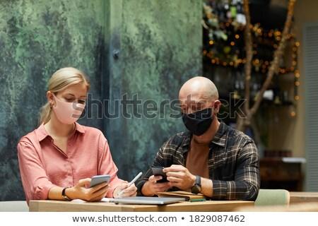 Iş adamları cep telefonu restoran kadın pencere Stok fotoğraf © wavebreak_media