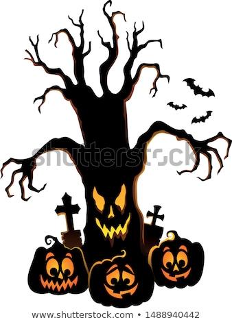 árvore · vetor · mão · sangue · noite · preto - foto stock © clairev