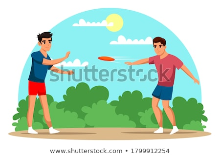 Cartoon boy playing with a flying disc Stock photo © bennerdesign