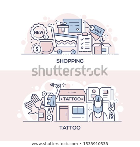 Shopping event and tattoo parlor banner template Stock photo © Decorwithme