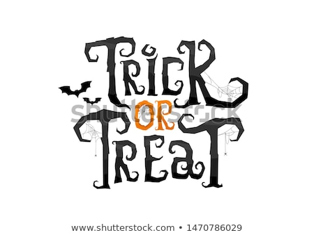 happy halloween scary text and bat silhouettes spider and spiderweb stock photo © orensila