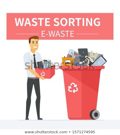 e waste recycling   modern cartoon people characters illustration stock photo © decorwithme