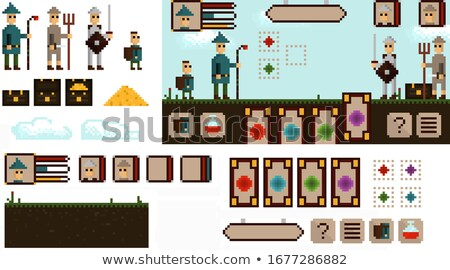 Pixel Game Elements and Icons, Landscape with Hero Stock photo © robuart