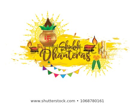 beautiful happy dhanteras yellow background with gold pot Stock photo © SArts