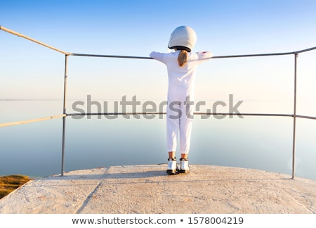 Astronauta futurista criança menina branco Foto stock © dashapetrenko