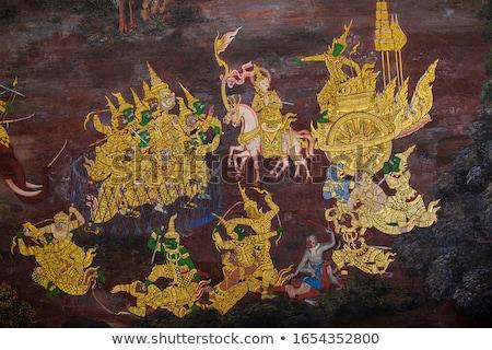 freskó · művészet · thai · ősi · város · fal - stock fotó © koratmember
