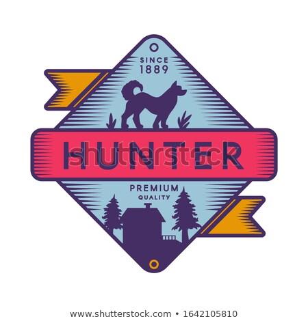 охотник лагерь ретро цвета логотип шаблон Сток-фото © barsrsind