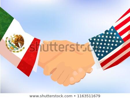 USA Mexikó kézfogás illusztráció kék ég kezek Stock fotó © evgeny89