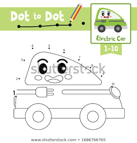 Learn colors - green. Coloring page of cute Car for children. Stock photo © natali_brill