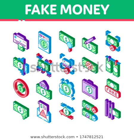Fake Money Isometric Elements Icons Set Vector Stock photo © pikepicture