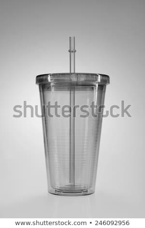 Piros eldobható műanyag csésze szalmaszál hideg Stock fotó © magraphics