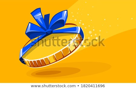 10 cents gold coin in gift wrapping with bow blue ribbon Stock photo © LoopAll