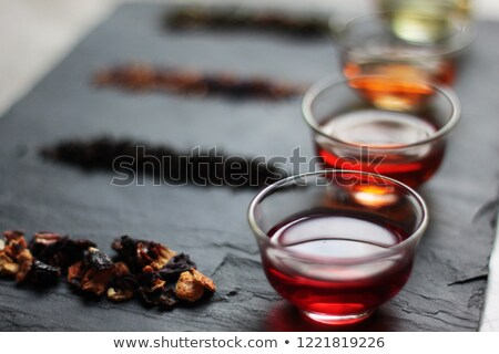 Stock photo: Red tea with green leaf