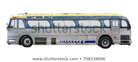oude · groene · bus · vintage · geïsoleerd · witte - stockfoto © devon