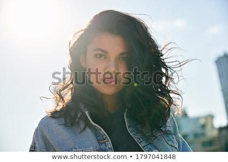 belo · morena · posando · verão · luz · do · sol - foto stock © lithian