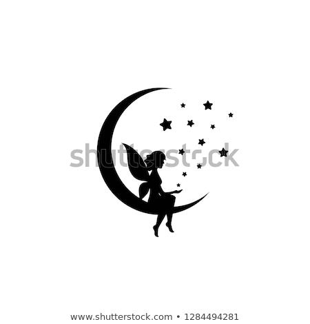 gyönyörű · lány · sziluett · csillag · szív · gyönyörű · nő · nő - stock fotó © illustrart